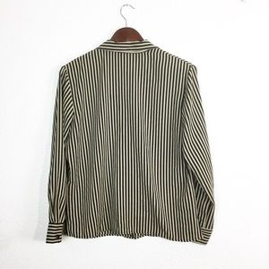 Notations Tops - Black & Tan Stripe Easy Care Button Down Blouse